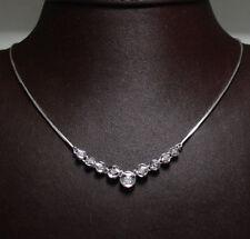 """Journey Cz Necklace Snake Chain 14K White Gold 17"""""""