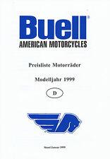 Buell Preisliste 1/99 price list X1 Lightning S3 Thunderbolt M2 Cyclone 1999 USA