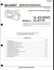 Sharp Original Service Manual per 8mm Camcorder VL-e 31s e VL-e 17e tecnologia