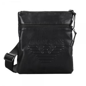 New Armani Jeans 100% Authentic Men's Black Messenger LOGO bag