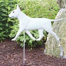 Bull Terrier Outdoor Garden Sign Hand Painted Figure White