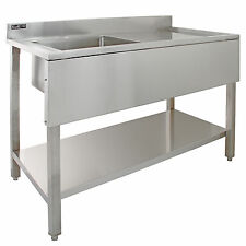 Commercial Sink Stainless Steel Catering Kitchen Single Bowl 1.0 Unit RH Drainer