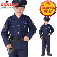 CK980 Policeman Boy Cops Uniform Boys Child Halloween Fancy Book Week Costume
