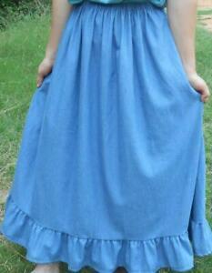 Ladies long full ruffle lt blue jean skirt modest denim Plus choose size/length