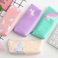 PU Creative Unicorn Carton Pencil Case Kawaii Stationery Pouch Pen Bag Organizer