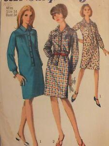Lovely VTG 60s SIMPLICITY 6626 Misses Step-in Shirt Dress PATTERN 14/34B