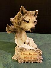 Dennis Franzen Collection Roman Inc 2 Piece Wolf Head Figurine w/ verse 1998