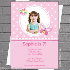 Personalised Girls Butterfly Photo Kids Birthday Party Invites x12 +envs H0425