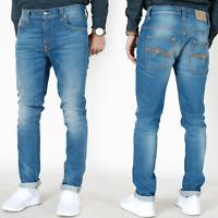 Nudie Herren Slim Skinny Fit Röhren Stretch Jeans Hose |Tape Ted Dark U. Slub