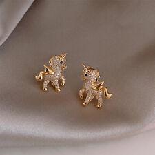 Elegant 925 Silver Earrings Stud Dangle White Sapphire Women Jewelry Unicorn