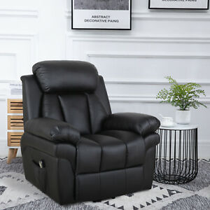 HOMCOM PU Leather Electric Recliner Mobility Lift&Rise Overstuffed Design Black