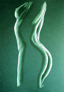 FEMALE NUDE 25 - PASTEL DRAWING ORIGINAL - GREEN - STUDIO ANGELA