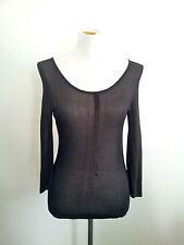 Flirty Look! Teresa Liano size S black viscose sheer mesh long sleeve top