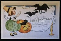 Whitney HALLOWEEN Postcard~Young Girl Witch~Crows Flying out of JOL Pumpkin-s759