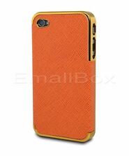 For Apple iPhone 4 4S Leather Designs Protective Chrome Snap-On Hard Cover Case