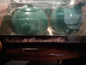 Omniware Stoneware Sugar & Creamer with A Stainless Steel Spoon Set, Green