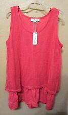 Simply Noelle Pink Net Overlay Ruffle Tunic Tank Top Large/X-Large 12-14