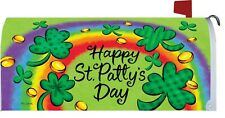 Happy St Patricks Day Rainbow Clover Magnetic Mailbox Cover