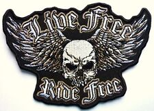 LIVE FREE RIDE FREE SKULL - SEW ON BIKER MOTORCYCLE PATCH 112mm by 80mm