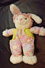 PLUSH WHITE RABBIT TOY UNBRANDED 12 IN HI SITTING -OVERALLS WITH FRONT POCKETS