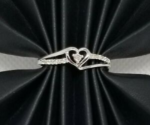 925 Genuine Diamond Solid Sterling Silver Heart 1.2 grams Promise Ring Size 7