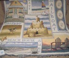 New Sea Shore Afghan Throw Gift Blanket Beach House Shell Sandcastle Sailboat