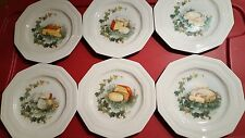 """Six Medicis 10 sided porcelain pictorial cheese salad or desert 8"""" plates vtg"""