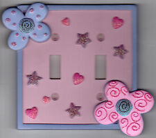 Borders Unlimited Ceramic +Glitter Double Gang Toggle Switch Plate Cover +Screws