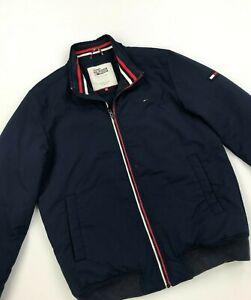 Men's Navy Blue Tommy Hilfiger Denim Bomber Jacket Medium M Lined Pockets B