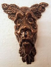 Green man wall plaque leaf face bronze color gothic man face
