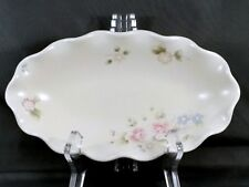 Pfaltzgraff Tea Rose Fluted Relish Dish Oval Cream Stoneware with Pink Roses 9""