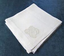 Antique 8 Linen Lawn Napkins C P H Monogram on Net Lace Insert Unusual & Elegant