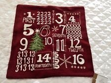 Pottery Barn Christmas Crewel Embroidered Advent Throw Pillow Cover Sold out