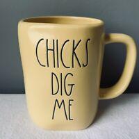 RAE DUNN CHICKS DIG ME Coffee Mug Pale Yellow by Magenta Spring Easter LL NWT 🐣
