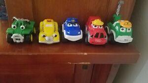 "Lot of 5 Tonka 2 1/2""  Lil Chuck & Friends Maisto Trucks 2000 Hasbro, Used"