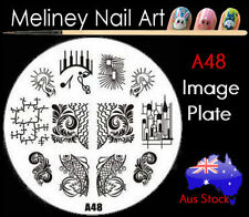 A48 Stamping Nail Art Image Plate Design Round XL Stencil metal
