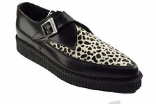 Steel Ground Shoes Black Leather White Leopard Creepers Monk Buckle Pointed