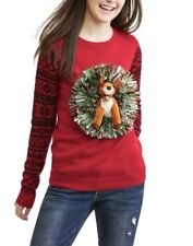 NEW No Boundaries Plush Reindeer Tinsel 3D Pop Out Ugly Christmas Sweater Size L
