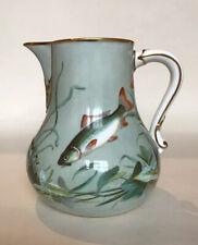 Arts & Crafts / Aesthetic Movement English Porcelain Jug - Hand Painted Fish