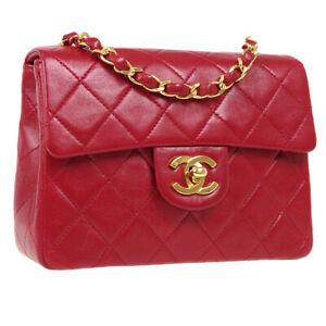 CHANEL Classic Flap Mini Square Chain Shoulder Bag 1012766 Red Leather 40781