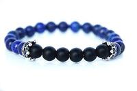 Power Armkette mit Kronen Anhänger Lapis Lazuli Stein Perlen Armband Bracelet