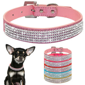 Cute Diamante Rhinestone Leather Pet Dog Cat Collars For Small Medium Dogs