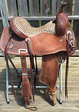 "Jays 16"" Cutting Saddle Mounted Shooting CMSA Hermann Oak Leather, Jeremiah Watt"