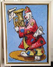 Tableau HSC représentant un clown musicien signé Capet 1956
