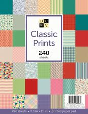 "American Crafts DCWV 8.5""x11"" Classic Prints Cardstock Geometric Stripes Solids"