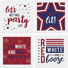 Patriotic Party Napkins / 48 Napkins - Four Styles/Fun Red White And Blue 3 Ply