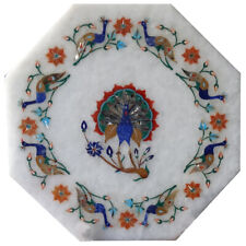 """15""""x15"""" Marble side Table Top Inlay carnelian Pietra dura Floral work Home Decor"""