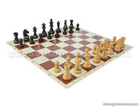 "Wooden Staunton Black Chess Set - Chess Board Brown 20"" + Chess Pieces 3,75"""