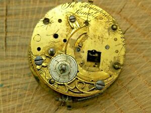 Antique Pocket Watch Movement Fusee Dial/Dial Plate Diameter 35mm 1700's