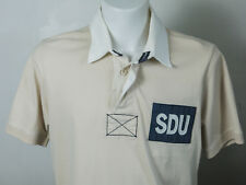 MENS SUPERDRY RUGBY SHIRT TOP SIZE MEDIUM M CREAM WHITE COLLAR